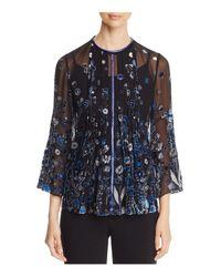 Elie Tahari Black Orion Embellished Blouse