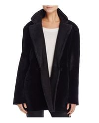 Theory - Black Clairene Shearling Coat - Lyst