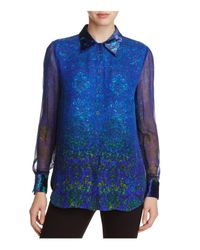 509cbfa0bee376 Lyst - Elie Tahari Martha Paisley Print Velvet Trim Silk Blouse in Blue