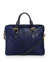 Cole Haan - Blue Brayton Pebbled Leather Briefcase for Men - Lyst