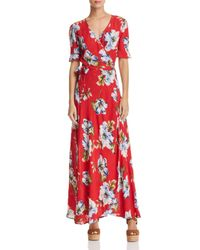 Band Of Gypsies - Red Blue Moon Floral-print Wrap Dress - Lyst