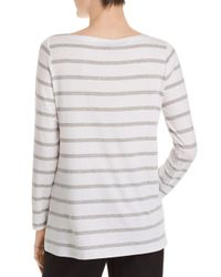 Eileen Fisher - White Striped Boatneck Top - Lyst