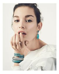John Hardy | Metallic Sterling Silver And 18k Bonded Gold Dot Oval Drop Earrings With Turquoise | Lyst