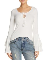 Band Of Gypsies - White Ribbed Bell-sleeve Top - Lyst