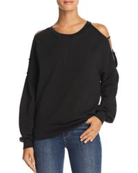 Project Social T - Black As If Strappy Cold-shoulder Sweatshirt - Lyst