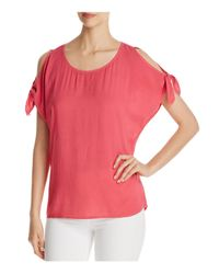 Side Stitch | Pink Cold Shoulder Tie Sleeve Top | Lyst