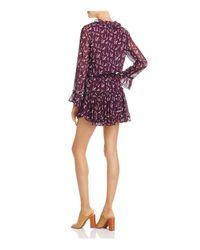 MISA Purple Long-sleeve Ruffle Dress