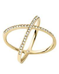 Michael Kors - Metallic Pavé X Ring - Lyst