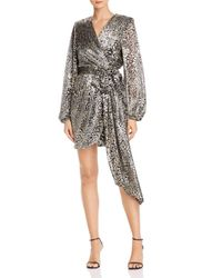 Rebecca Vallance Lottie Metallic Leopard Faux Wrap Dress