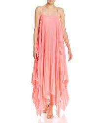 MILLY Pink Elena Pleated Maxi Dress