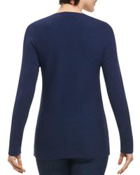 Foxcroft - Blue Ribbed Crisscross Sweater - Lyst
