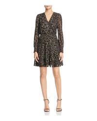 MICHAEL Michael Kors Black Star Print Faux-wrap Dress