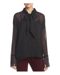 Theory - Black Metallic Silk Tie-neck Blouse - Lyst