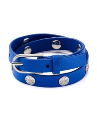 Tory Burch - Blue Double Wrap Logo Stud Bracelet - Lyst