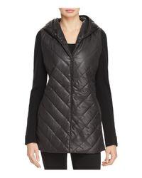 Eileen Fisher Black Hooded Mixed-media Jacket