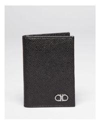 Ferragamo Black Ten-forty On Pebbled Leather Vertical Card Holder for men