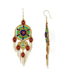 Miguel Ases Multicolor Round Fringe Drop Earrings
