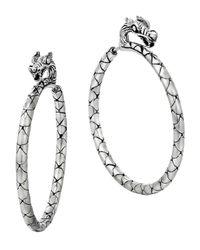 John Hardy Metallic Naga Silver Medium Hoop Earrings