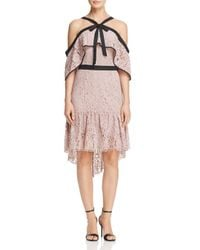 Adelyn Rae Purple Tracy Cold-shoulder Lace Dress