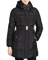 Calvin Klein - Black Faux Fur Lined Puffer Coat - Lyst