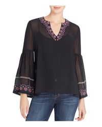 Catherine Malandrino Black Embroidered Bell Sleeve Top