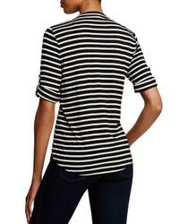 Calvin Klein Black Striped Zip Front Roll Sleeve Knit Blouse