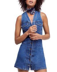 Free People - Blue Wandering Star Denim Mini Dress - Lyst