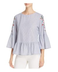 Beach Lunch Lounge - Blue Embroidered Bell Sleeve Top - Lyst