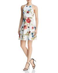 Aqua Natural Strappy Floral Print Dress