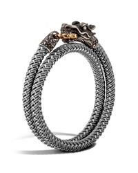 John Hardy - Metallic Men's Naga Double Wrap Dragon Cord Bracelet for Men - Lyst