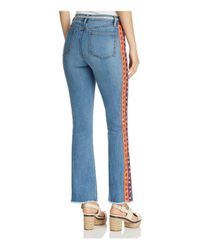Tory Burch Blue Amy Embroidered Skinny Flared Jeans