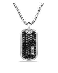 David Yurman - Metallic Pavé Tag With Black Diamonds for Men - Lyst