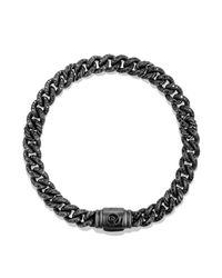 David Yurman Petite Pavé Curb Link Bracelet With Black Diamonds