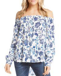 Karen Kane - Blue Floral-print Off-the-shoulder Top - Lyst
