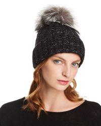 Kyi Kyi Black Fox Fur Pom - Pom Rib - Knit Beanie