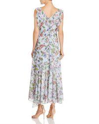 Nanette Nanette Lepore Multicolor Sleeveless Ruffle-trim Floral-print Maxi Dress