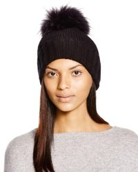 Inverni Black Foldover Knit Beanie With Asiatic Raccoon Fur Pom-pom