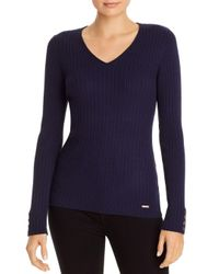 T Tahari Blue V - Neck Button Accent Ribbed Top