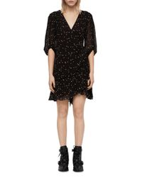 AllSaints Black Gracie Nala Embroidered Tie - Waist Dress