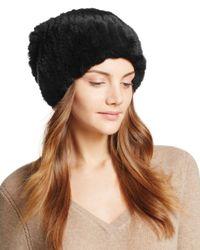 Surell Black Rabbit Fur Slouch Hat