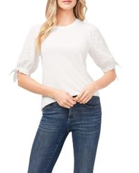 Cece White Eyelet Puff Sleeve Top