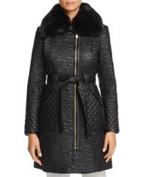 Via Spiga - Black Faux Fur Trim Belted & Quilted Coat - Lyst