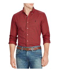 Polo Ralph Lauren - Red Twill Plaid Classic Fit Button-down Shirt for Men - Lyst