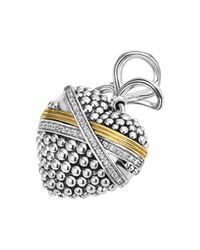 Lagos - Metallic 18k Gold And Sterling Silver Caviar Bead Heart Charm Pendant With Diamonds - Lyst