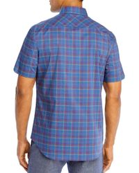 Zachary Prell Blue Rennie Cotton Multi Check Regular Fit Button Down Shirt for men
