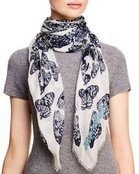 Zadig & Voltaire Blue Kerry Butterfly Skull Print Scarf