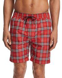 Burberry Red Guides New Check Swim Trunks for men