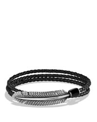 David Yurman - Frontier Feather Triple-wrap Bracelet In Black With Black Onyx for Men - Lyst