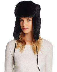 Crown Cap Black Rabbit Fur Russian Aviator Hat
