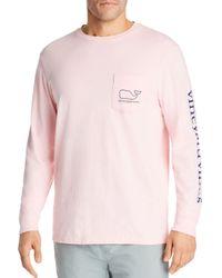 Vineyard Vines Pink Logo Print Long - Sleeve Cotton Pocket Tee for men